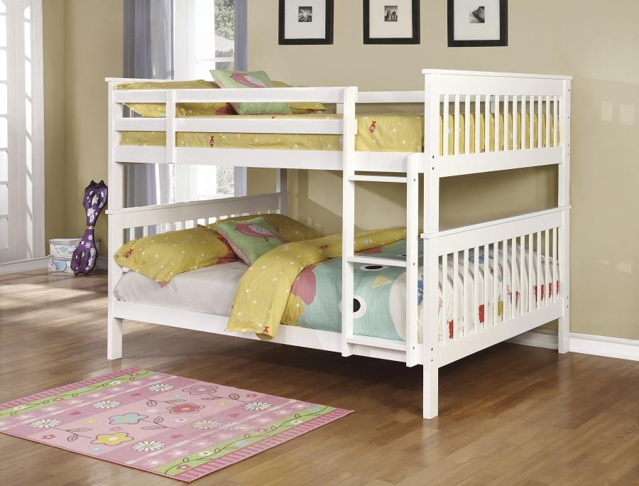 Chapman Collection Chapman Traditional White Full Over Full Bunk Bed 460360 Bunk Beds Midtown Outlet Home Furnishings