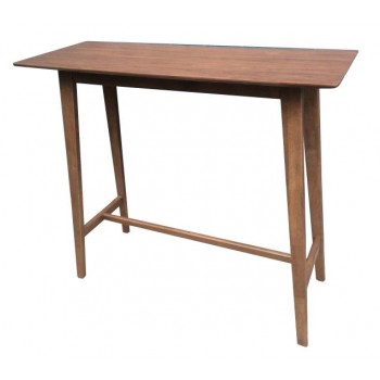 REC ROOM/ BAR TABLES: WOOD - Mid-Century Natural Walnut Bar Table