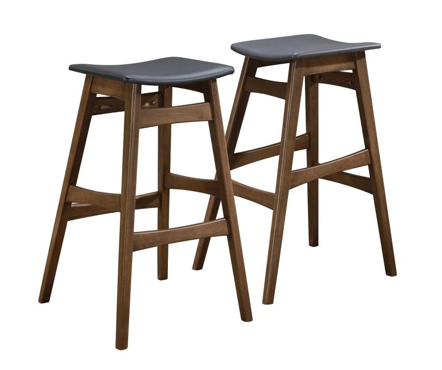 the best attitude 44832 3745e REC ROOM/ BAR TABLES: WOOD - Mid-Century Natural Walnut Bar Stool (Pack of  2)