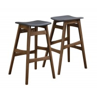 REC ROOM/ BAR TABLES: WOOD - Mid-Century Natural Walnut Bar Stool (Pack of 2)