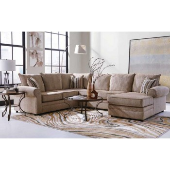 FAIRHAVEN COLLECTION - Fairhaven Transitional Cream Herringbone Sectional