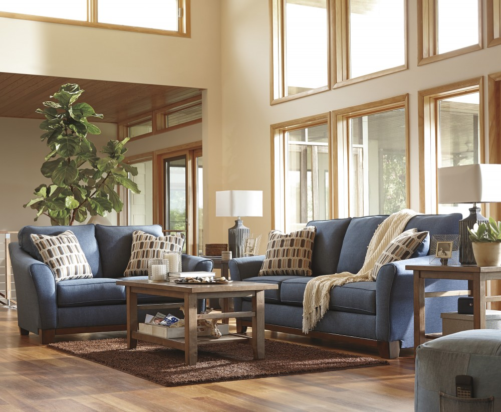 janley denim sofa loveseat 43807 38 35 living room