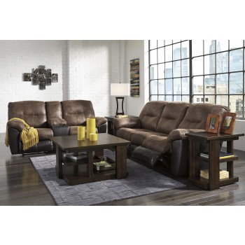 Follett - Coffee - Reclining Sofa & DBL Rec Loveseat w/Console