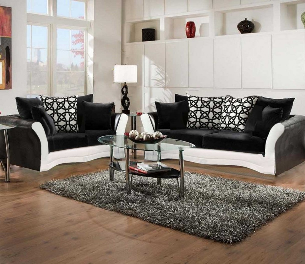 black living room set Black and White Sofa and Love Living Room Set | 8000 Black and  black living room set