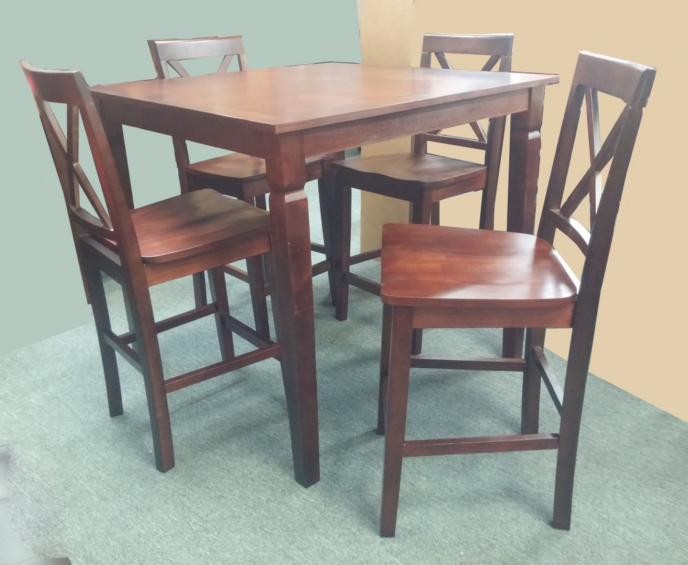 Pub Table 4 Chairs Wood