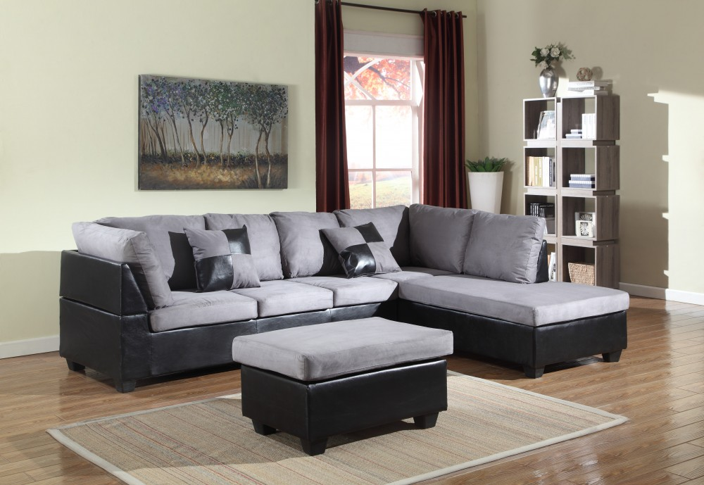 Gray Two Piece Sectional With Ottoman Under $500