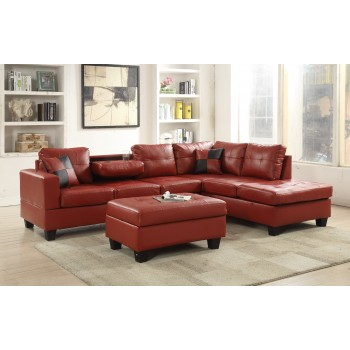 Red Faux Leather Sectional