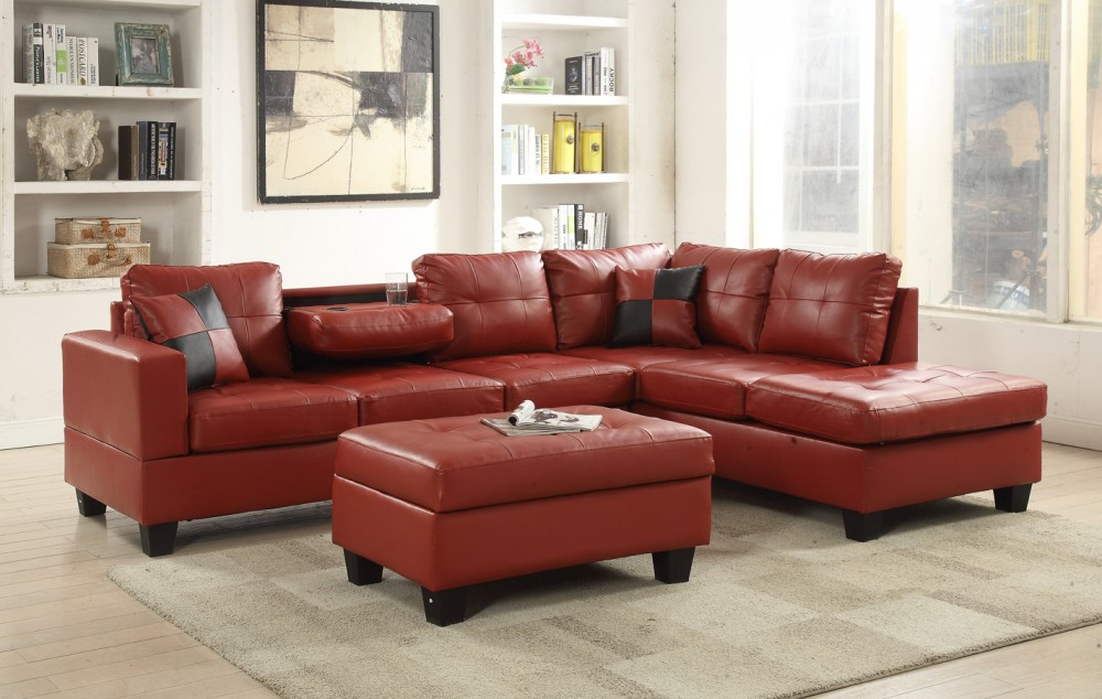 Wondrous Red Faux Leather Sectional Gmtry Best Dining Table And Chair Ideas Images Gmtryco