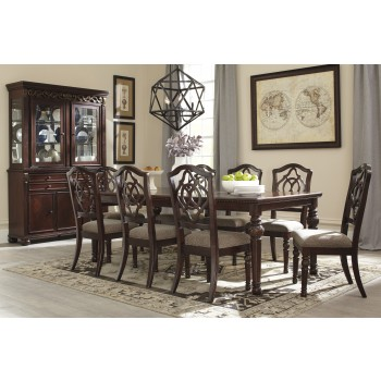 Leahlyn - RECT Dining Room EXT Table & 8 UPH Side Chairs