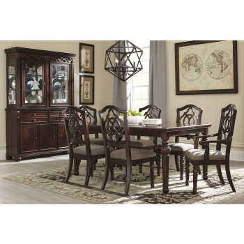 Leahlyn - RECT Dining Room EXT Table, 4 UPH Side Chairs & 2 UPH Arm Chairs