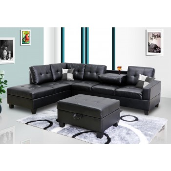 Black Faux Leather Sectional