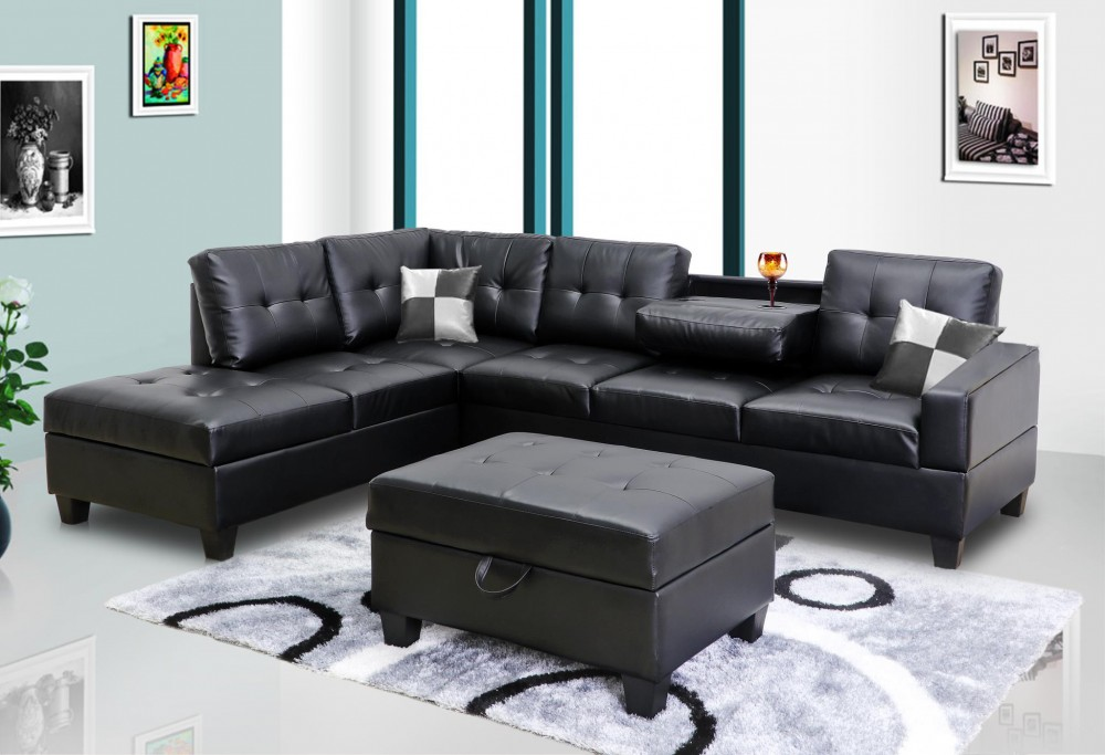 Black Faux Leather Sectional | 8077801 - Sofas Price Busters Furniture