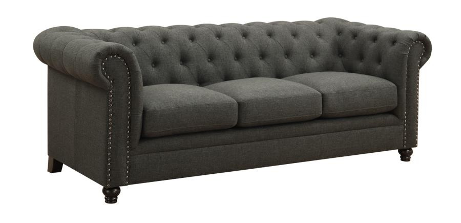ROY COLLECTION - Roy Traditional Grey Button-Tufted Sofa