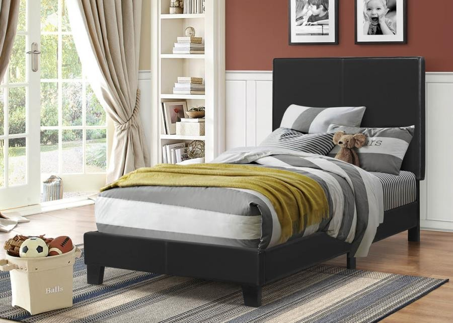 MAUVE UPHOLSTERED BED   TWIN BED