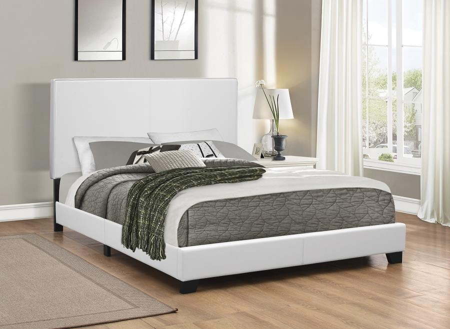 MAUVE UPHOLSTERED BED - Mauve Upholstered Platform White Full Bed