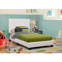 MAUVE UPHOLSTERED BED - Mauve Upholstered Platform White Twin Bed
