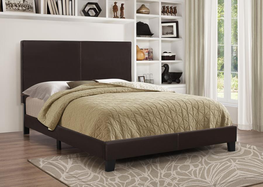 MAUVE UPHOLSTERED BED - Mauve Upholstered Platform Brown Full Bed