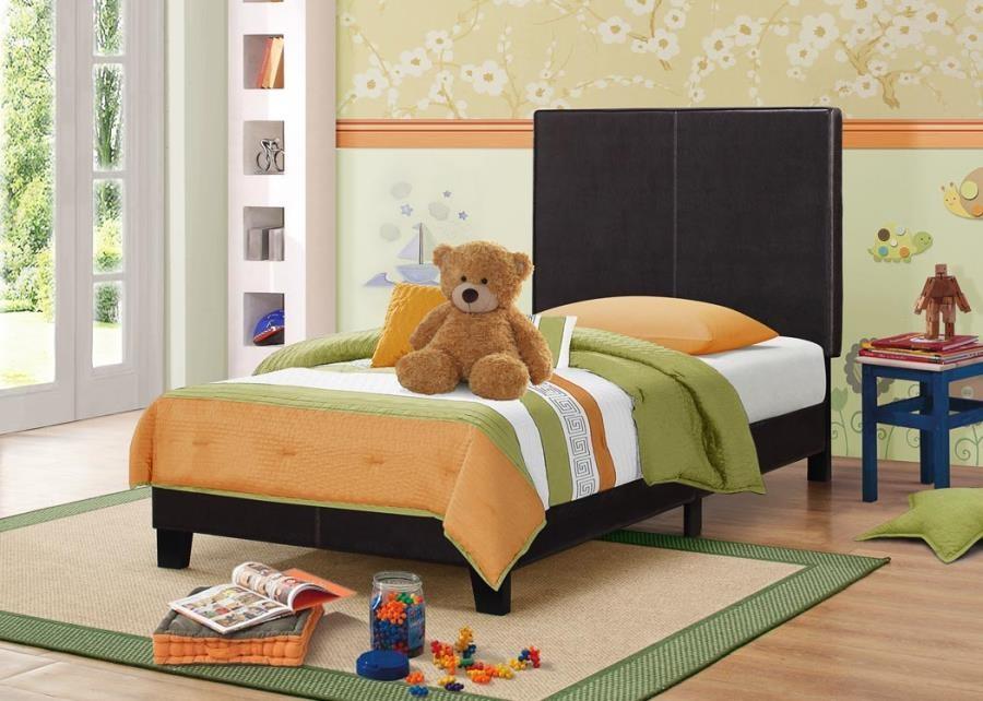 MAUVE UPHOLSTERED BED - Mauve Upholstered Platform Brown Twin Bed