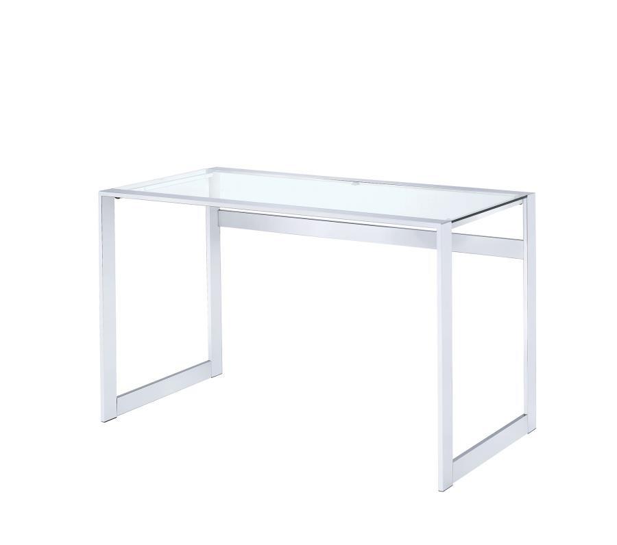 HOME OFFICE : DESKS - Contemporary Chrome and Glass Top Writing Desk