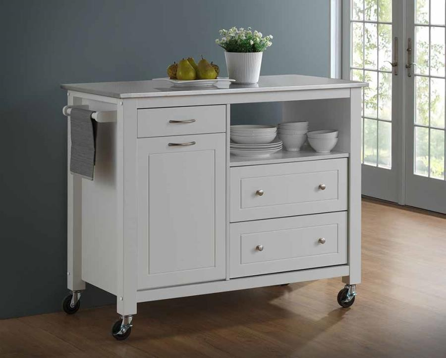 DINING: KITCHEN CARTS   Country White Kitchen Island With Caster Wheels