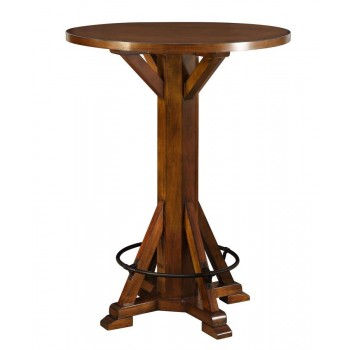 REC ROOM/ BAR TABLES: WOOD - Rustic Chestnut Round Bar Table