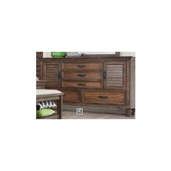 FRANCO COLLECTION - Franco Burnished Oak Five-Drawer Dresser With Two Louvered Doors