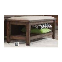 FRANCO COLLECTION - Franco Burnished Oak Upholstered Bench