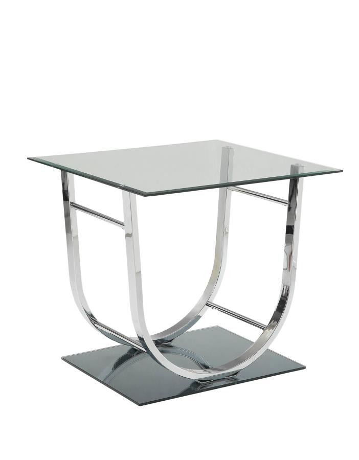 LIVING ROOM: GLASS TOP OCCASIONAL TABLES   Contemporary Chrome End Table