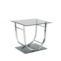 LIVING ROOM: GLASS TOP OCCASIONAL TABLES - Contemporary Chrome End Table