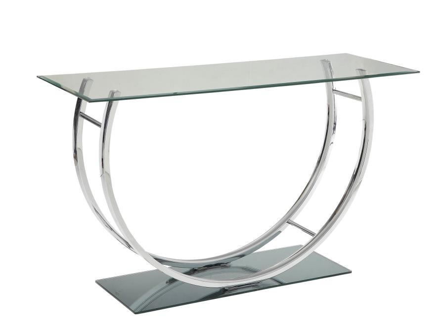 LIVING ROOM: GLASS TOP OCCASIONAL TABLES - Contemporary Chrome Sofa ...