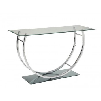 LIVING ROOM: GLASS TOP OCCASIONAL TABLES - Contemporary Chrome Sofa Table