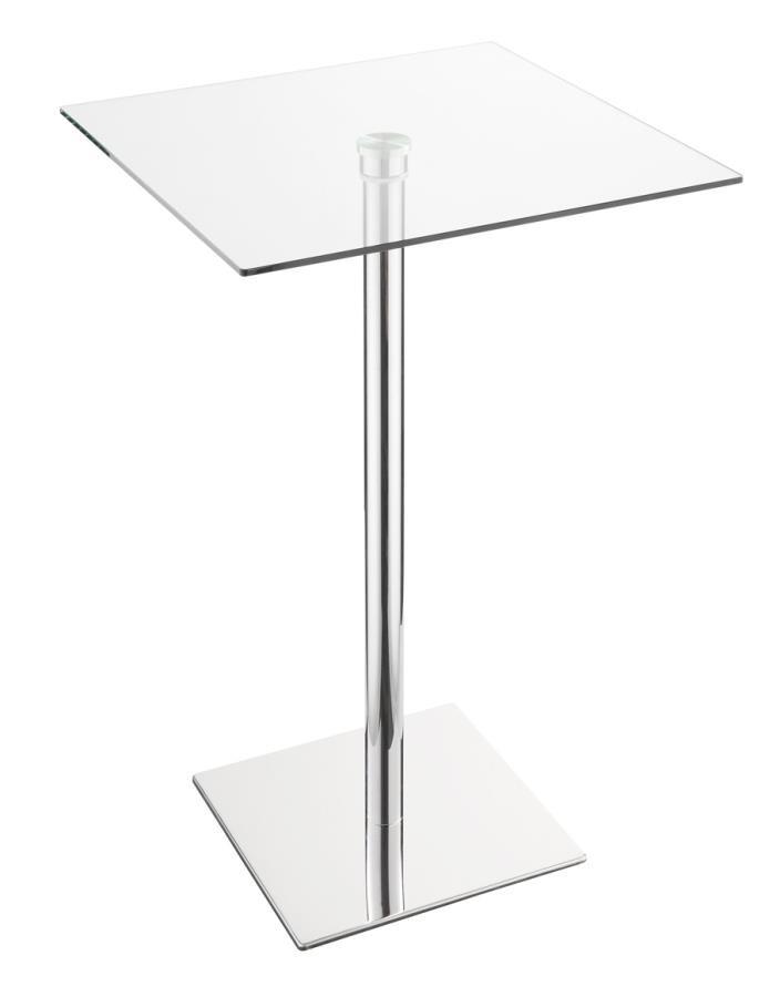 Ordinaire REC ROOM/ BAR TABLES: CHROME/GLASS   BAR TABLE