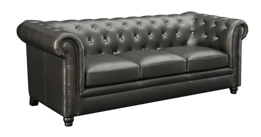 Fantastic Roy Collection Roy Traditional Gunmetal Grey Button Tufted Sofa Interior Design Ideas Gentotthenellocom