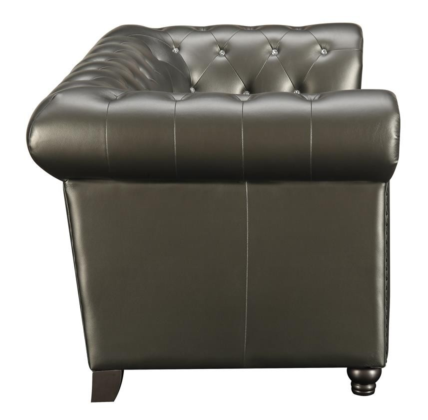Amazing Roy Collection Roy Traditional Gunmetal Grey Button Tufted Loveseat Short Links Chair Design For Home Short Linksinfo