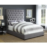 CAMILLE UPHOLSTERED BED - Camille Grey Upholstered Queen Bed