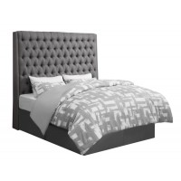 CAMILLE UPHOLSTERED BED - Camille Grey Upholstered King Bed