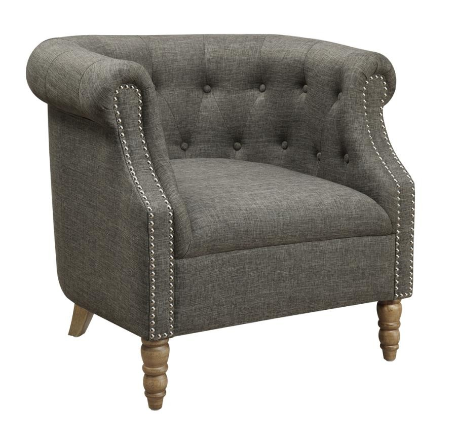 accent chairs living room accents chairs barrel button tufted accent chair gray 12114