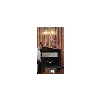 BARZINI BEDROOM COLLECTION - Barzini Two-Drawer Nightstand With Metallic Drawer Front