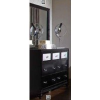 BARZINI BEDROOM COLLECTION - Barzini Black Dresser Mirror