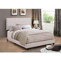 BOYD UPHOLSTERED BED - Boyd Upholstered Ivory Twin Bed