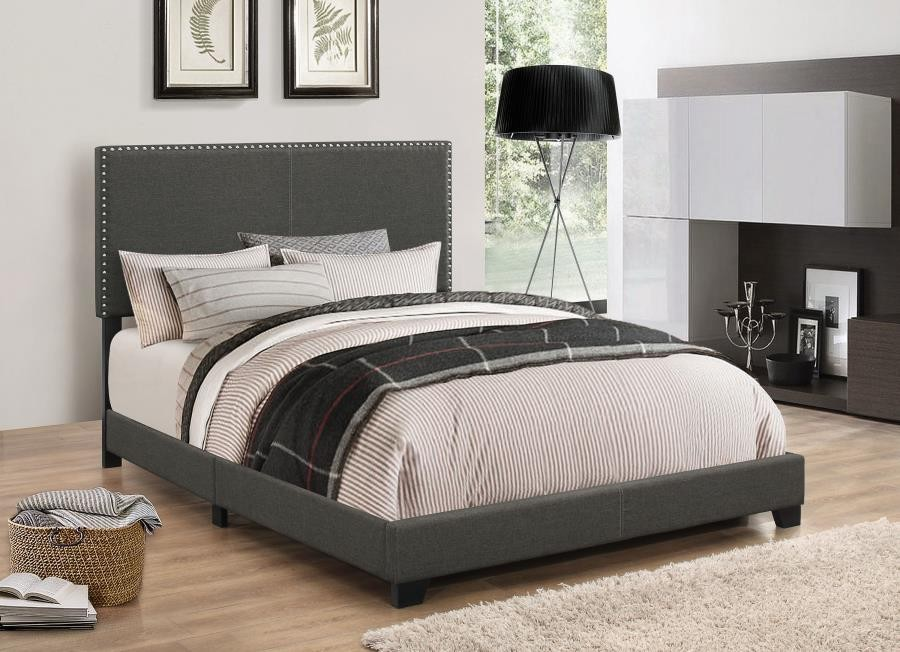 BOYD UPHOLSTERED BED - Boyd Upholstered Charcoal King Bed