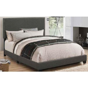 BOYD UPHOLSTERED BED - Boyd Upholstered Charcoal Twin Bed