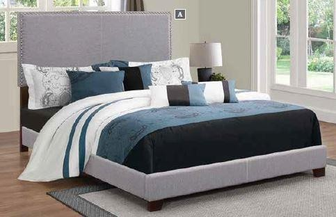 BOYD UPHOLSTERED BED - Boyd Upholstered Grey Queen Bed