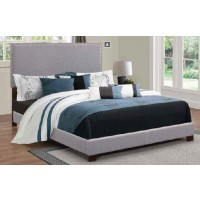 BOYD UPHOLSTERED BED - Boyd Upholstered Grey Twin Bed