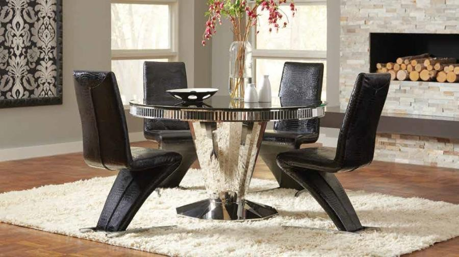 BARZINI DINING COLLECTION - Barzini Dining Contemporary Black Pedestal Dining Table