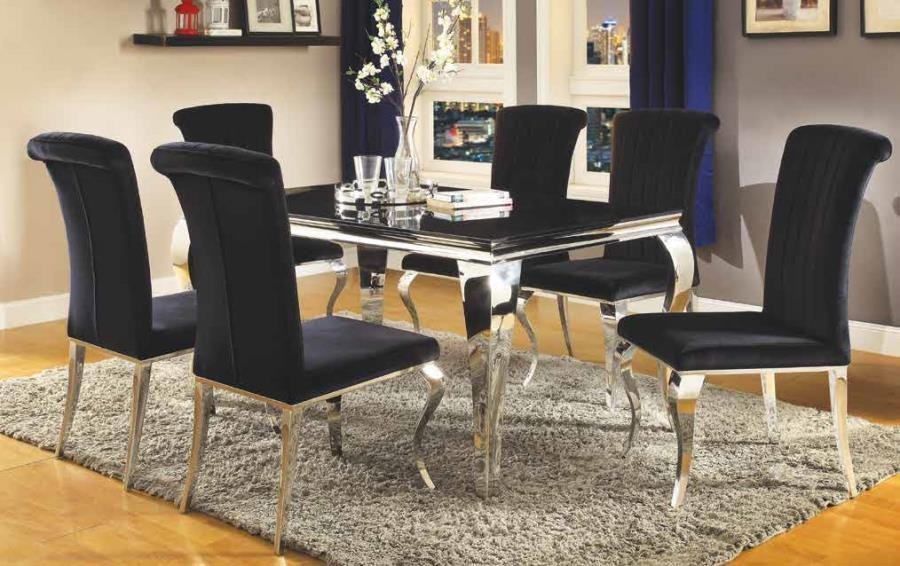 Everyday Dining Side Chair Hollywood Glam Chrome Side Chair Pack Of 4 105072 Chairs Midtown Outlet Home Furnishings