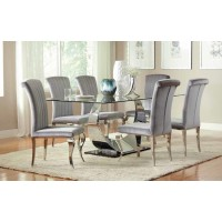 EVERYDAY DINING: SIDE CHAIR - Hollywood Glam Chrome Dining Chair (Pack of 4)