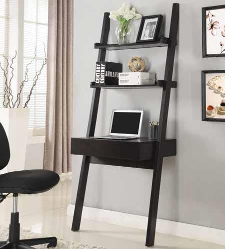 COLELLA COLLECTION - Transitional Cappuccino Wall-Leaning Ladder Desk