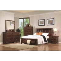 NOBLE COLLECTION - Noble Rustic Oak Queen Storage Bed