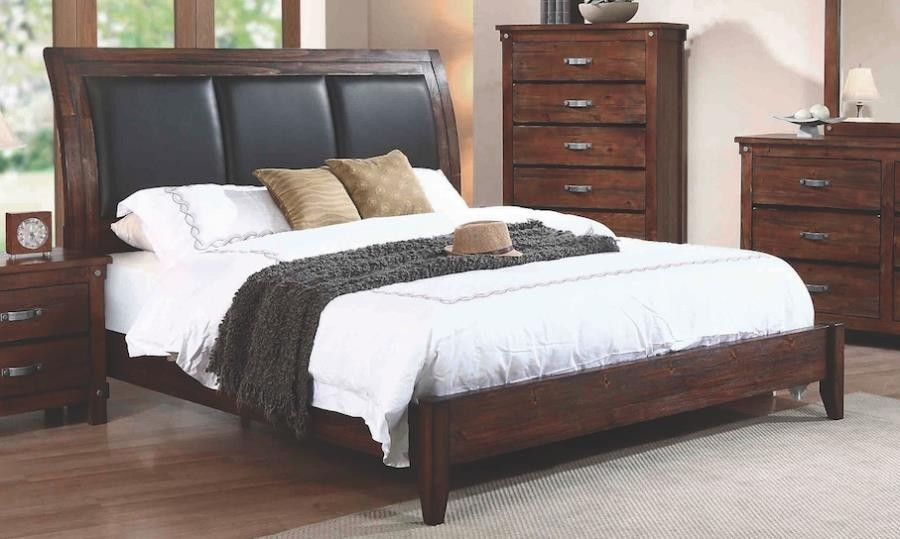 NOBLE COLLECTION - Noble Rustic Oak Eastern King Panel Bed